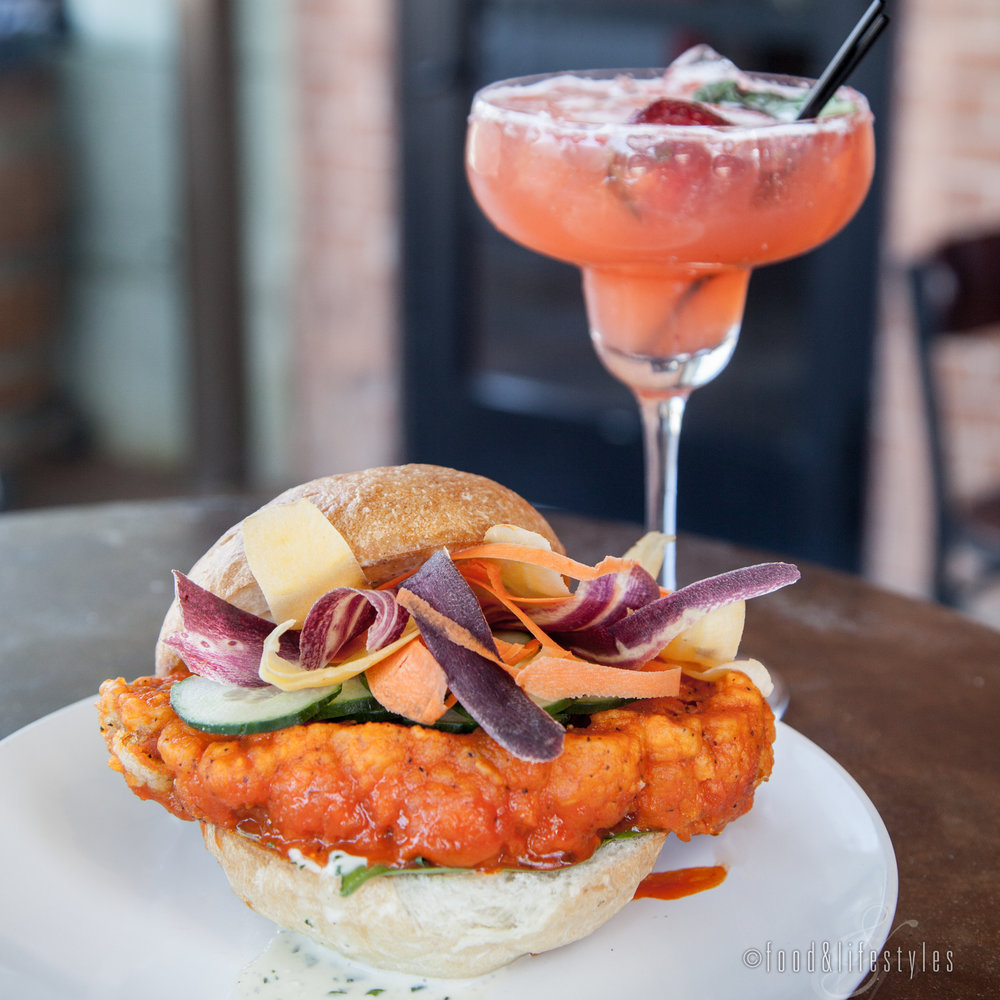 Buffalo cauliflower sandwich and the strawberry-basil margarita