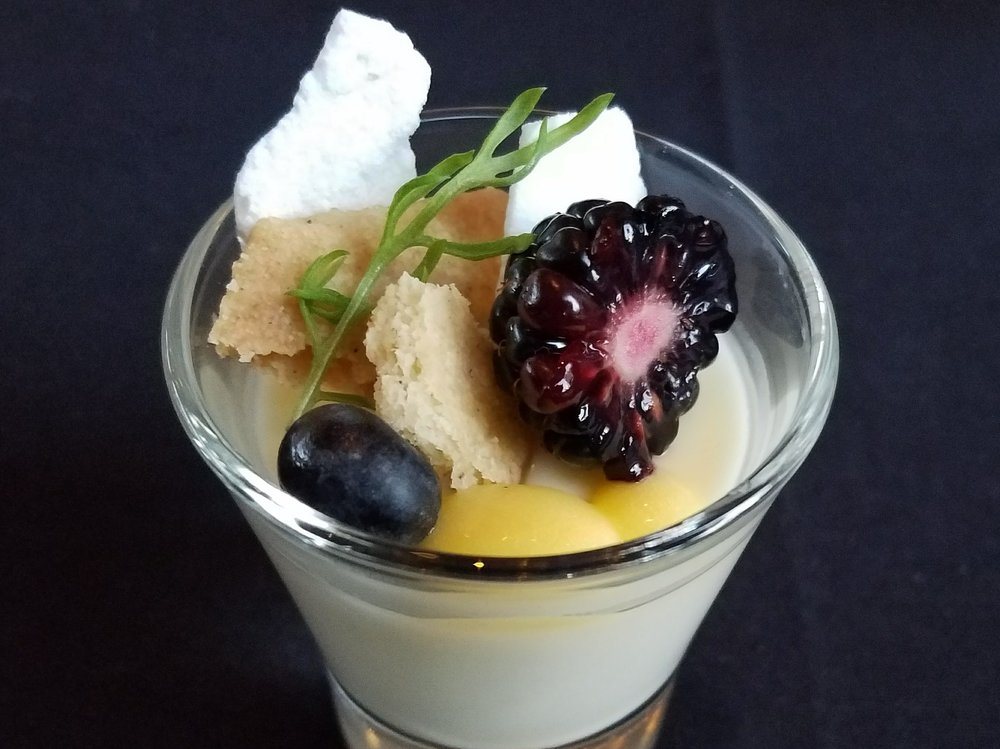 Lemon meringue posset: Meyer lemon posset with chamomile shortbread, fresh berries, Meyer lemon curd and dehydrated meringues