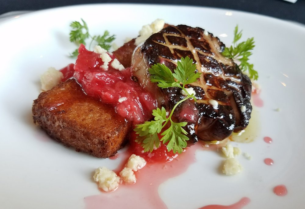 Hudson Valley foie gras with honey poached rhubarb, ginger, five spice brioche french toast + caramelized milk crumb