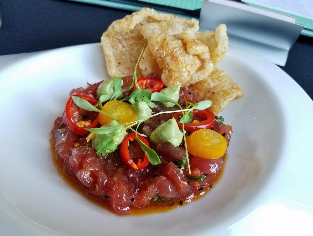 Hawaiian tuna tartare with avocado mousse, Fresno chiles, chicharrones