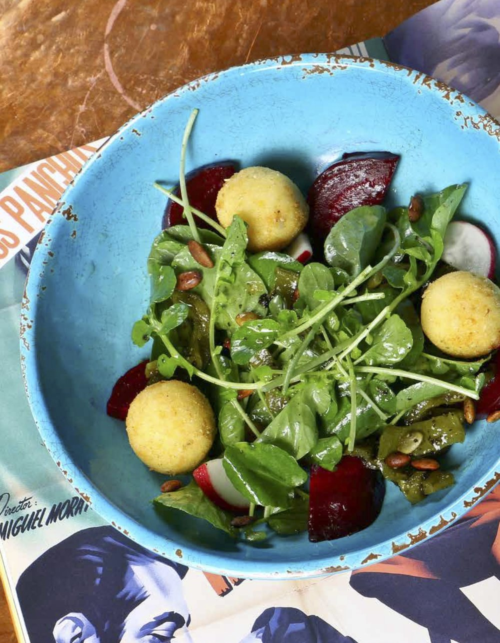 Roasted beet salad with watercress, crispy goat cheese, roasted chiles and agave vinaigrette