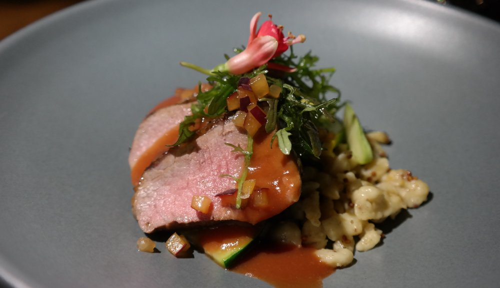 Chef Dale: Lamb Loin with Mustard Spaetzle, Mustard Microgreen Salad, and Plum Demi-Glace