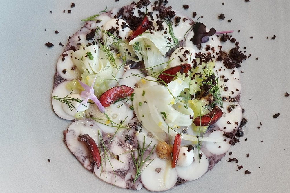 Octopus carpaccio by Chef Rochelle Daniel