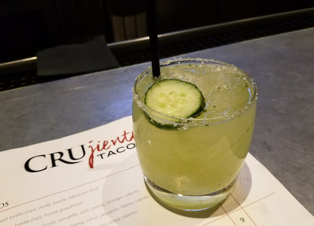 Mezcal margarita with cucumber and cilantro