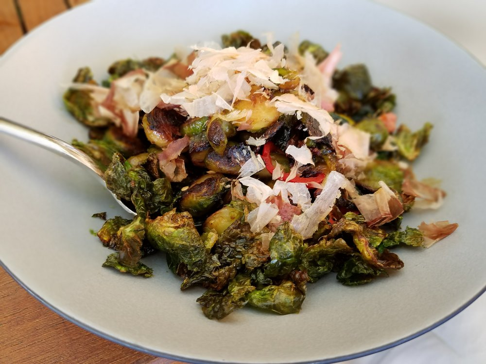 Brussels sprouts with soy glaze, kimchi and bonito