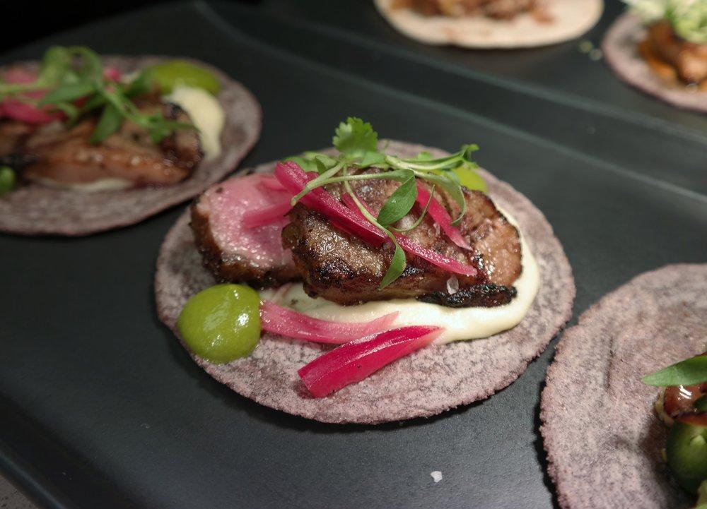 Grilled lamb taco