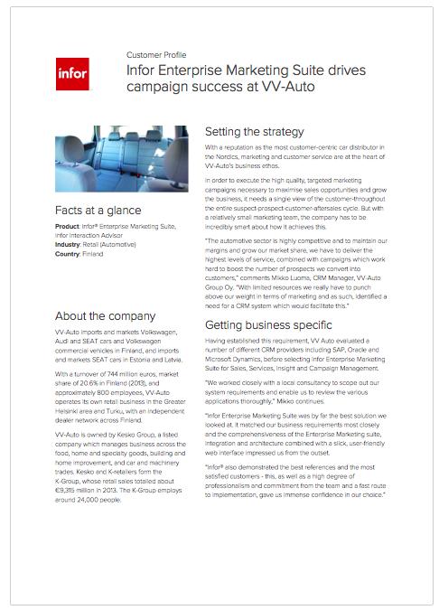 Infor Enterprise Marketing Suite drives campaign success at VV-Auto.png