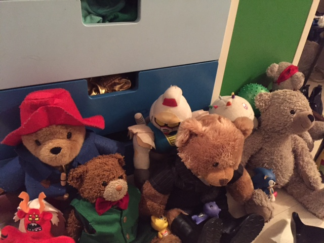 From L to R: Trigon, Paddington, Kuma, Robot, Fluffington J. Bear ESQ, Chickens, Arctos, Arc. Non-Teddy Bears go to Teddy Bear school as well, it gives the program more diversity.