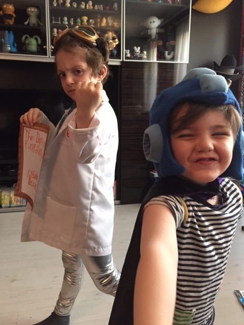 Action shot of Dr. Ice and Stripe Boy!