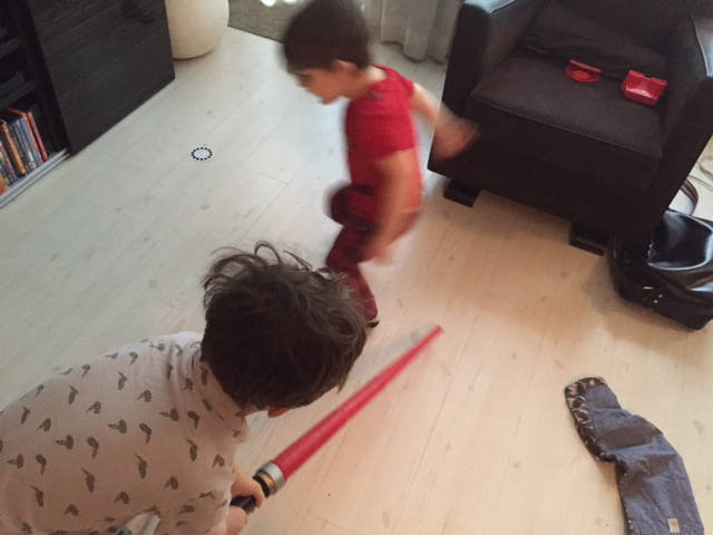 Lyric jumping over the lightsaber attack. Sweet ninja moves indeed.