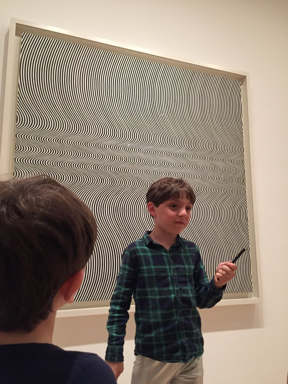 Zephyr got into Bridget Riley's op art, saying it both surprised him and made him feel calm