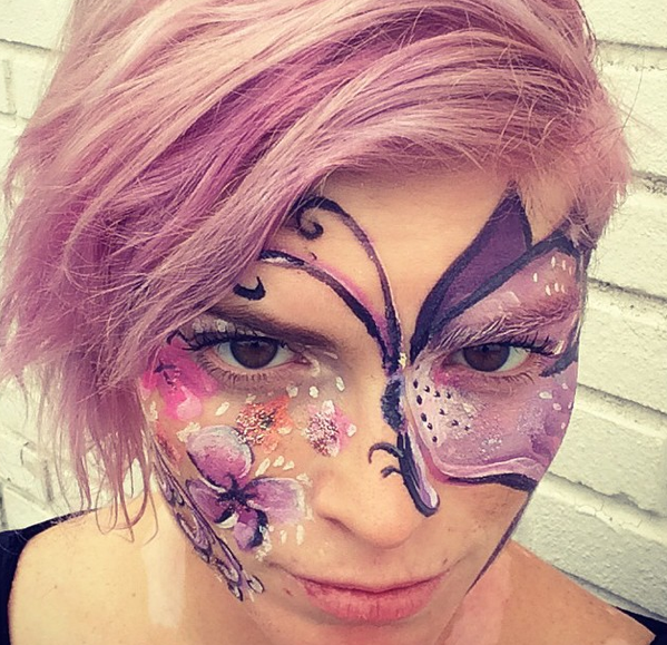 Butterfly and Flowers (And Purple Hair!)