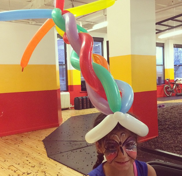 Wacky fun balloon hat and butterfly face