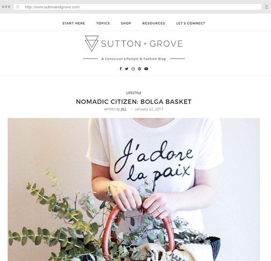 Sutton + Grove    Feature:  Nomadic Citizen Bolga Basket January 2017