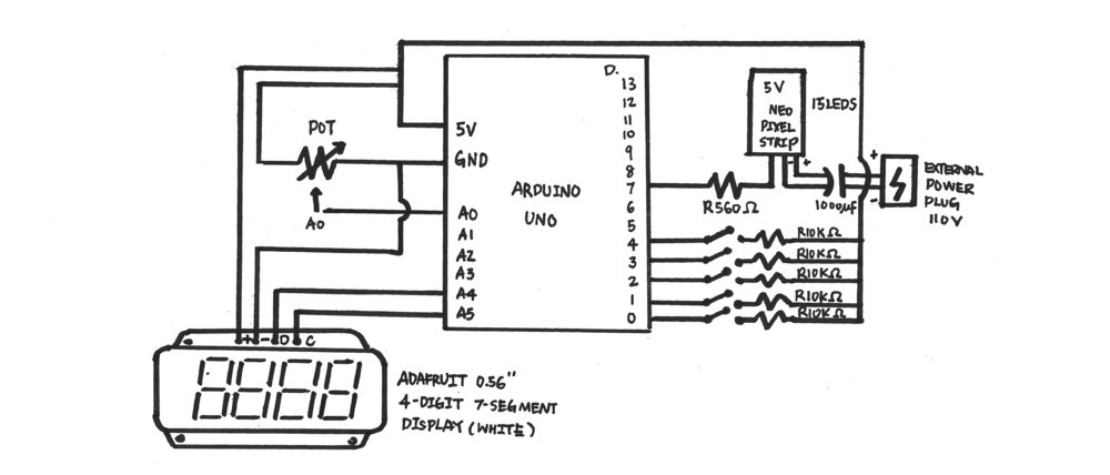 Schematics drawing of Arduino circuit.