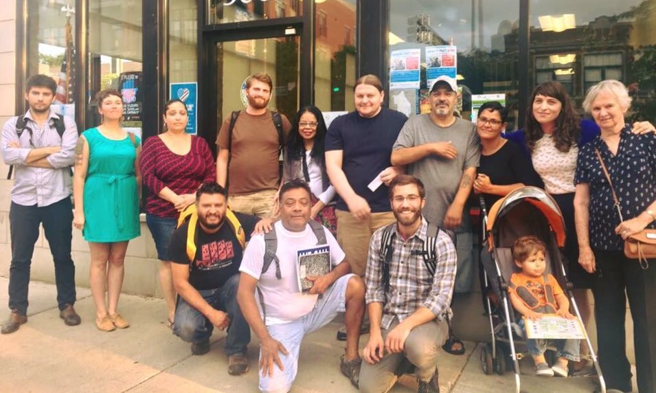 Working Families members joined the Autonomous Tenants Union to ask Ald. Mell to take action against mass evictions. She declined to commit to doing so. (Photo: ATU)