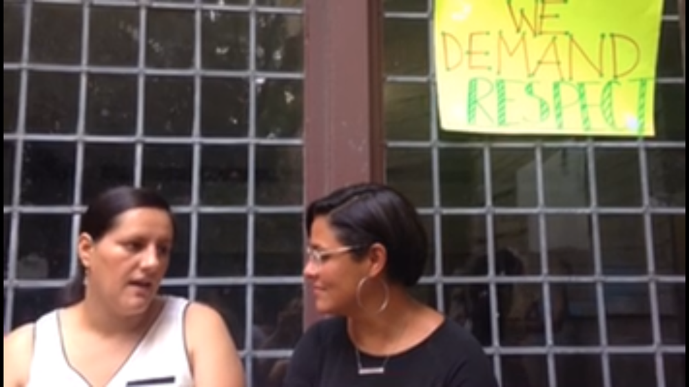 Rossana Rodriguez speaking with the Kimball Tenants Union, July 2018