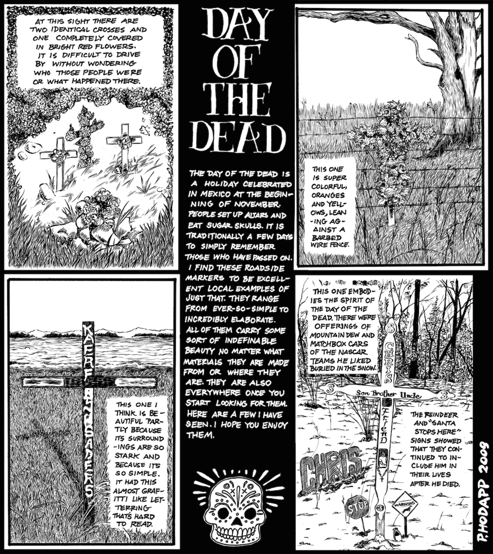 Day of the dead piece on road-side altars for the dead in rural Wisconsin.