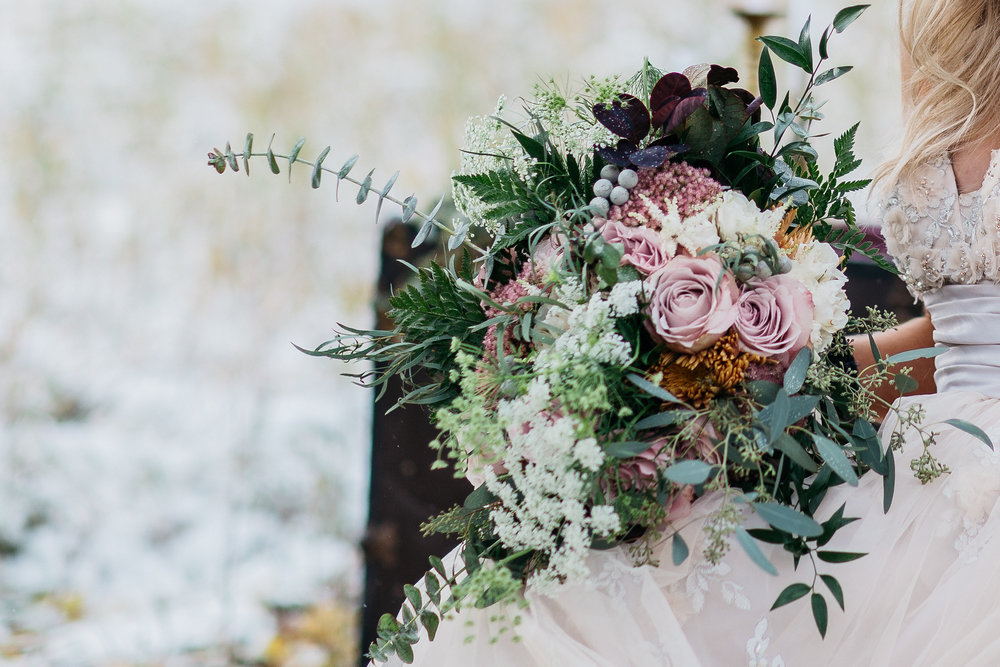 winter theme wedding bouquet close up
