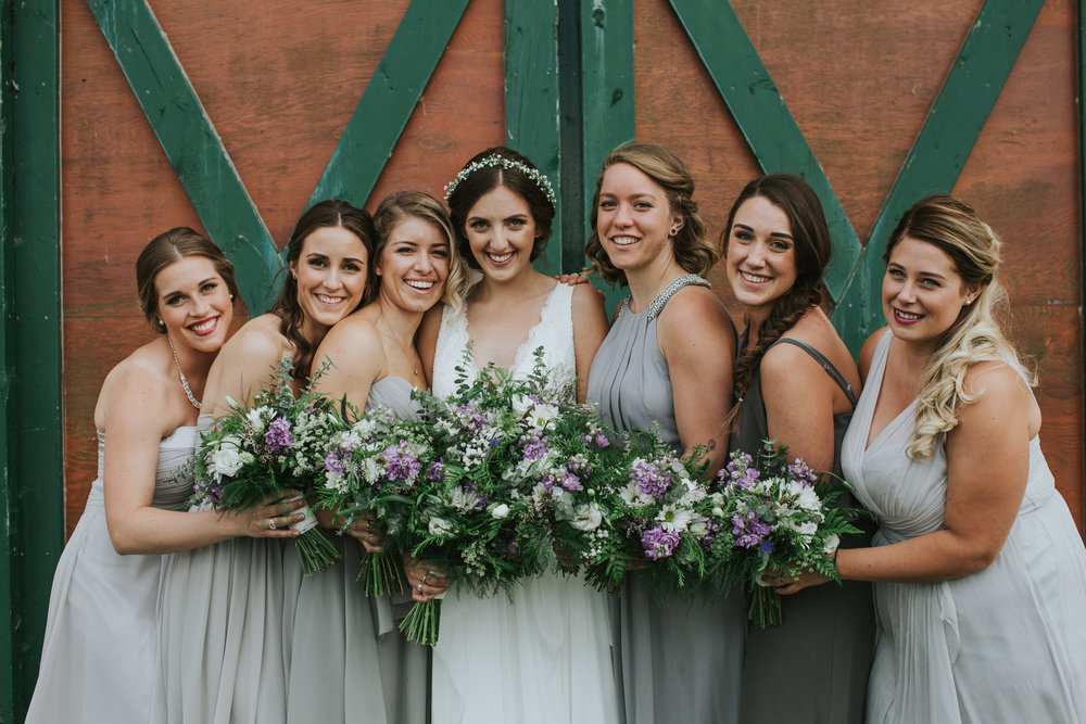 bridal party bouquets flower crown