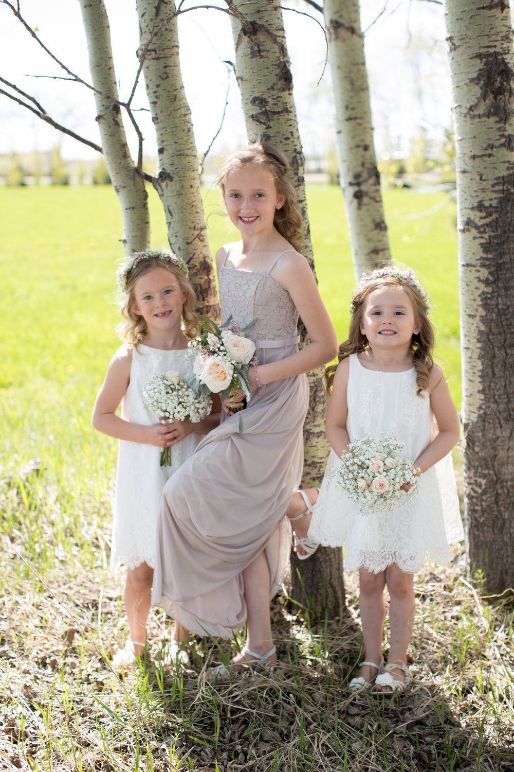 flower girl hairpieces and flower crowns from calgary wedding florist