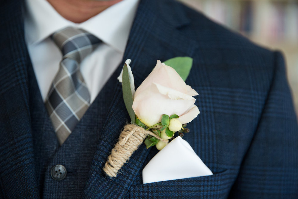 custom rustic wedding boutonniere from florist based in calgary
