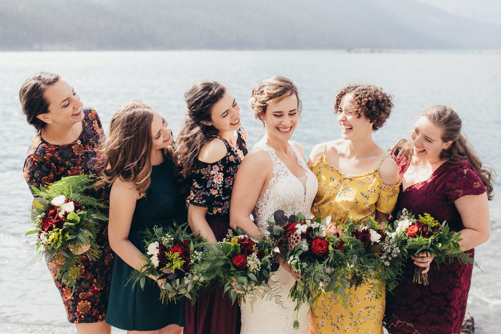 bridesmaids bouquets from calgary and hair flowers for wedding from calgary florist