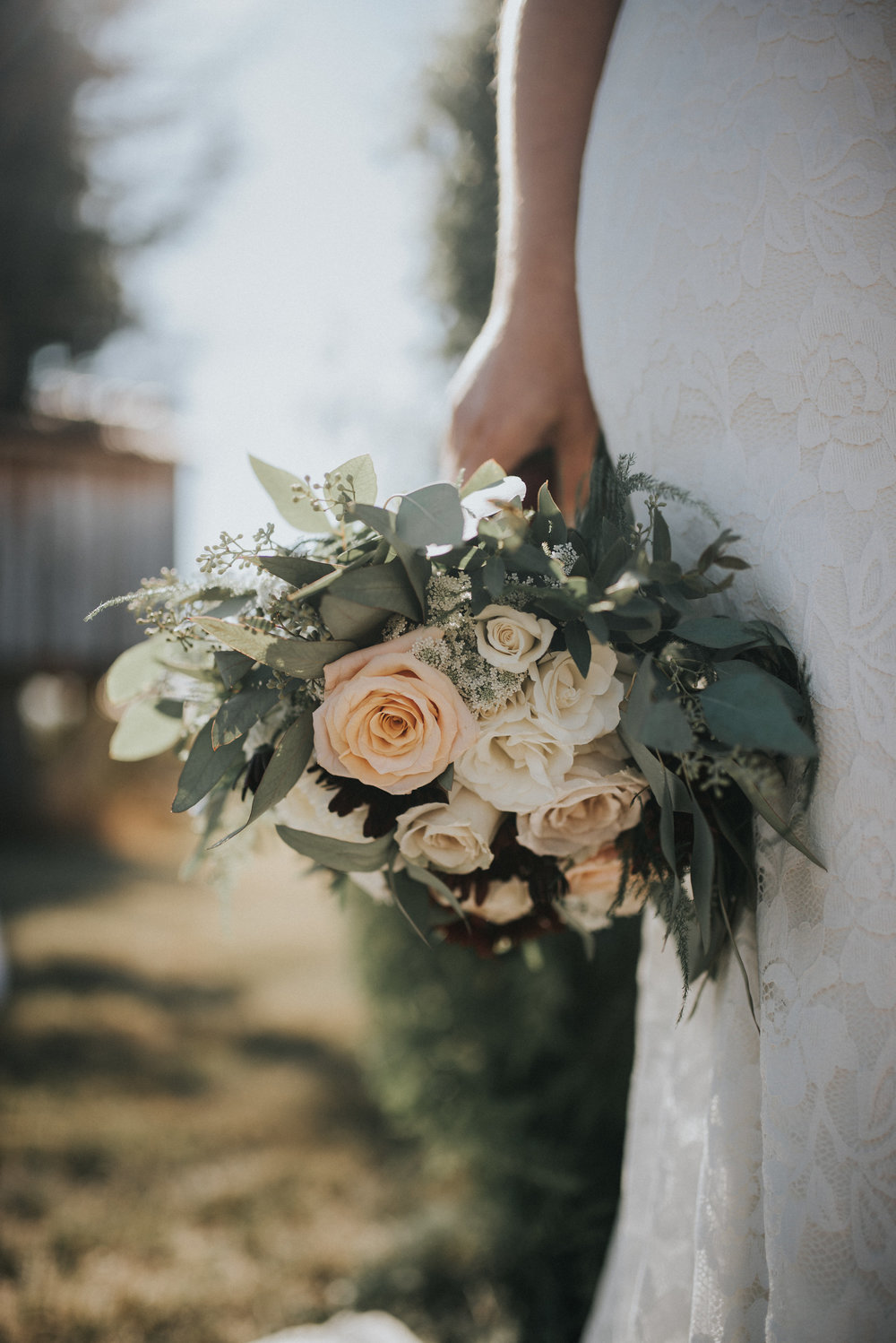 rustic and vintage bridal bouquet made in calgary
