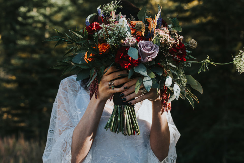 fall floral bouquet for bride in alberta wedding