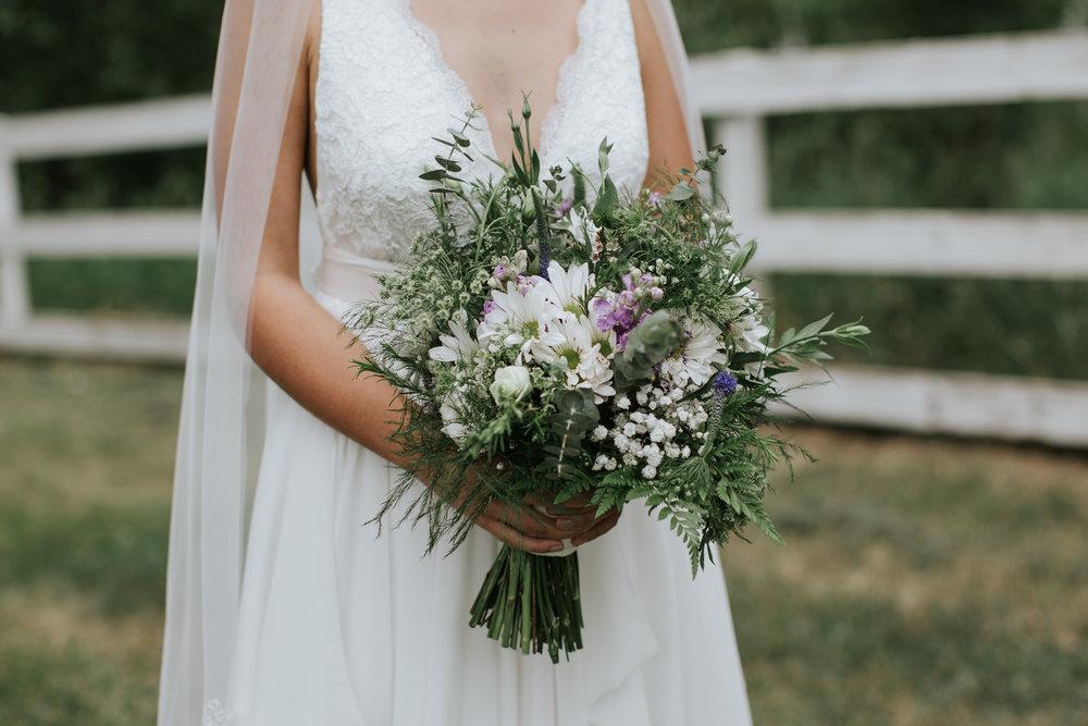 rustic and vintage bridal wedding flowers