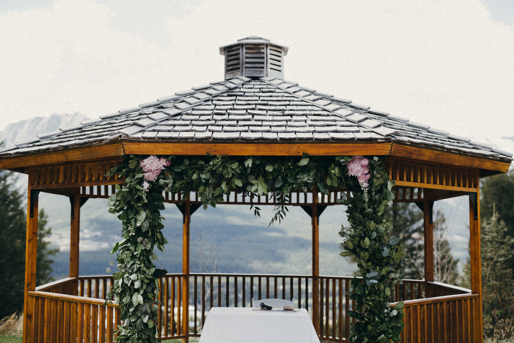 wedding arch floral arrangements in canmore, alberta