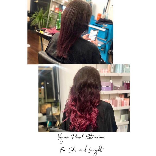 "16""extensions added to this beauty for length and color @kayscosmo colored the extensions using @matrix socolor cult in flamenco fuschia and blooming orchid ✨"