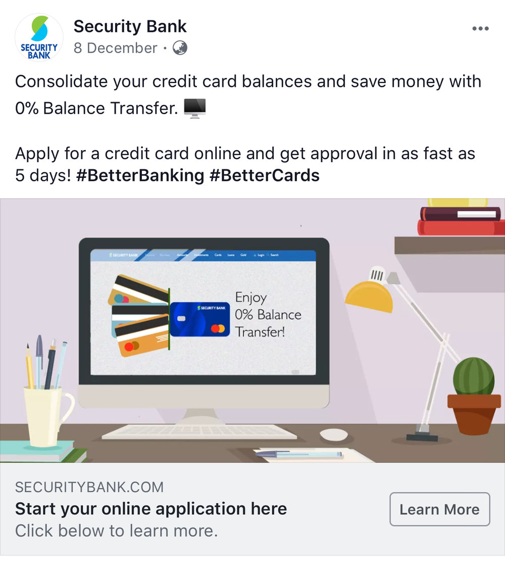 A screenshot of Security Bank's post on Facebook.