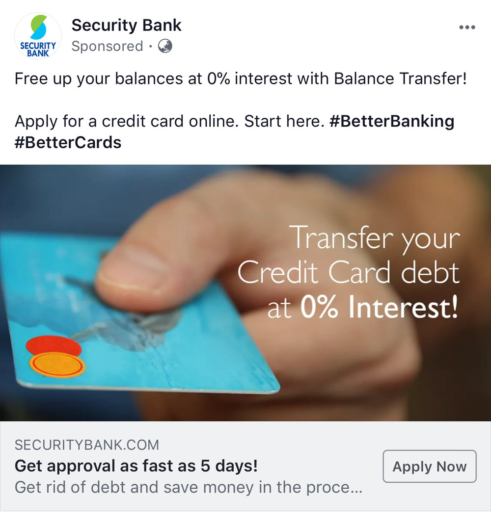 A screenshot of Security Bank's ad on Facebook.