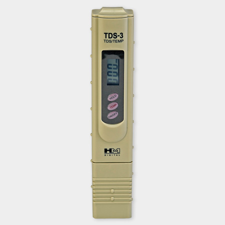 TDS meter - measures the total dissolved solids in the water