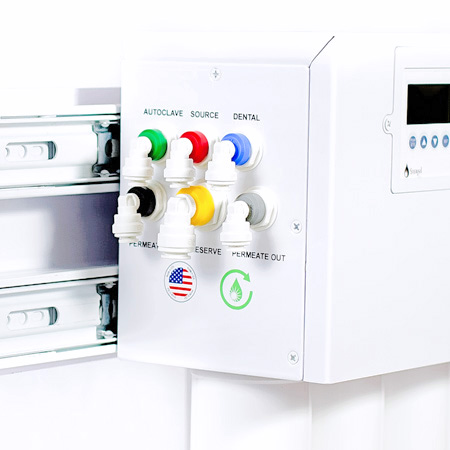 Easy installation with color coded quick connect water inlets and outlets