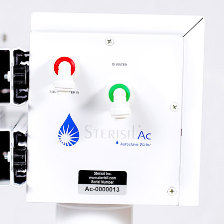 Easy installation with color coded quick connect water inlets and outlets (Ac shown)