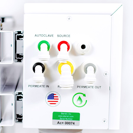 Easy installation with color coded quick connect water inlets and outlets (Ac+ shown)