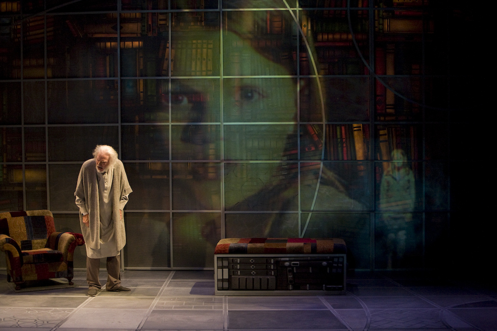 Philip Pleasants (and work of projection designer Charlie Miller) in THE GIVER at Denver Center Theatre Company. Production Photographer Jennifer Koskinen | Merritt Portrait Studio