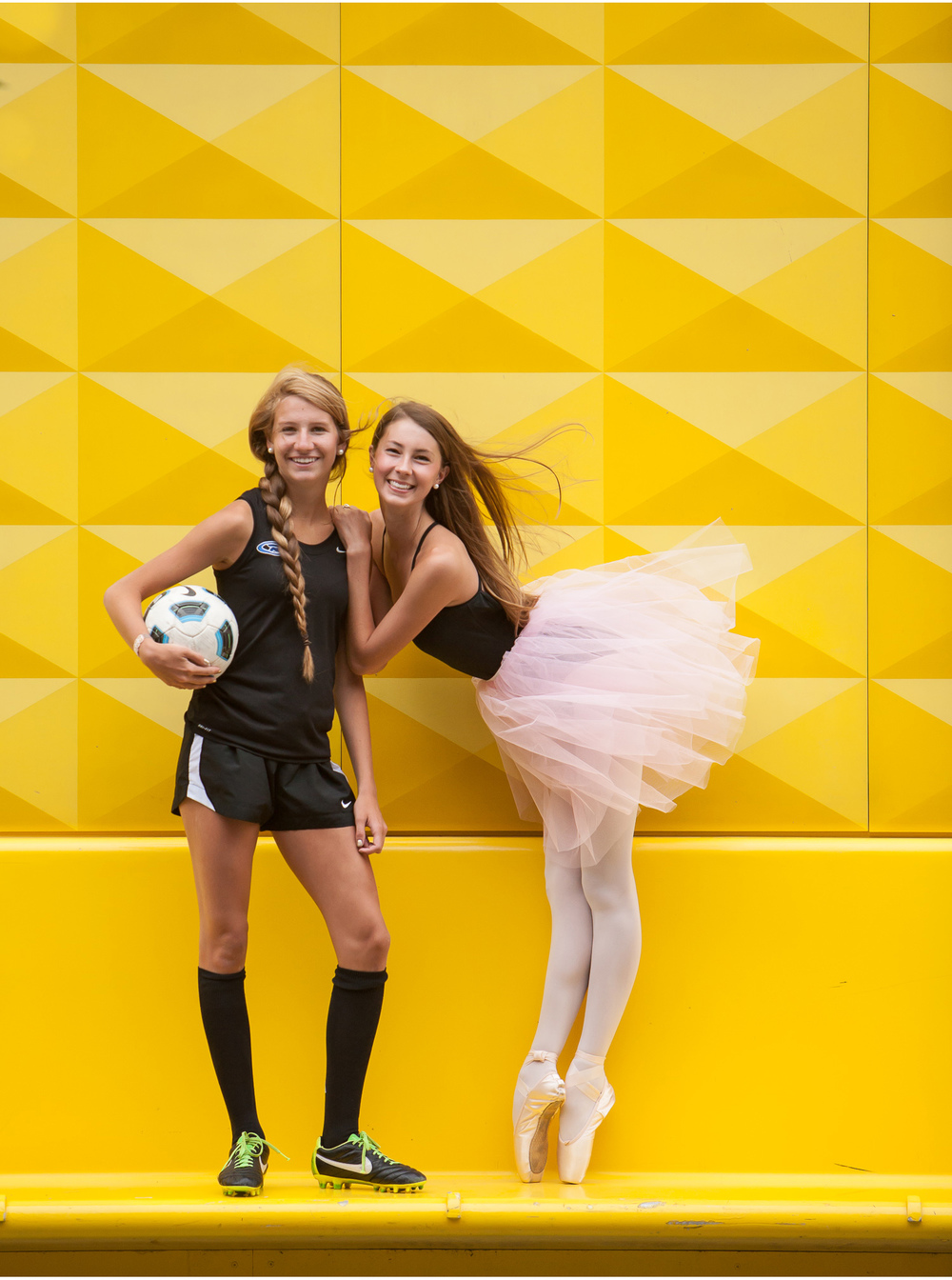 Gorgeous best friends, a soccer player and a ballerina on the infamous yellow wall in Denver!