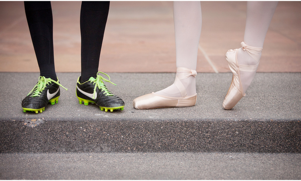 Downtown Denver best friends senior pictures session with a ballet slippers and soccer shoes with photographer Jennifer Koskinen, Merritt Portrait Studio.