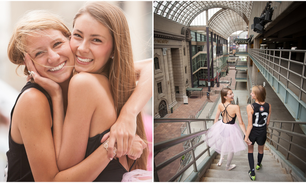 Urban Denver best friends senior pictures session with a ballerina and soccer player at the Denver Center for Performing Arts, with photographer Jennifer Koskinen, Merritt Portrait Studio.
