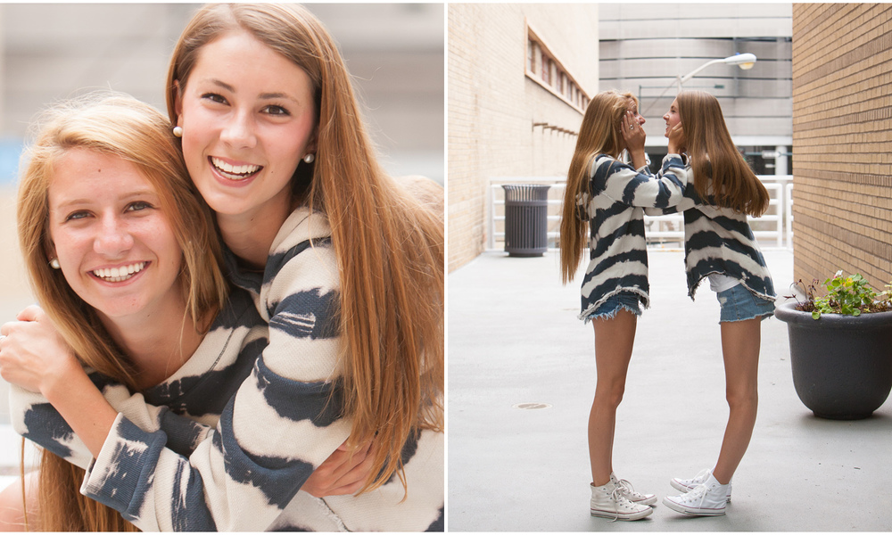 Downtown Denver, adorable best friends high school senior portrait session with photographer Jennifer Koskinen, Merritt Portrait Studio.