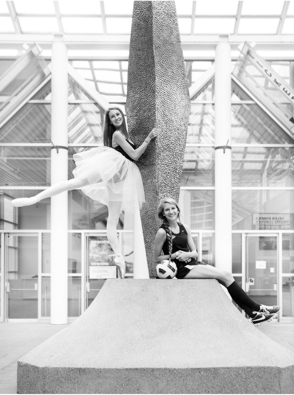Downtown Denver cousins senior pictures featuring a ballerina and soccer player with photographer Jennifer Koskinen, Merritt Portrait Studio.