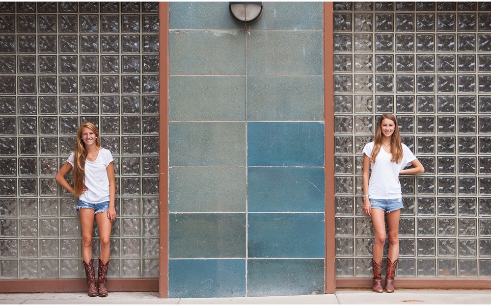 Downtown Denver, adorable best friends high school senior portrait session against blue tile and glass block wall with photographer Jennifer Koskinen, Merritt Portrait Studio.