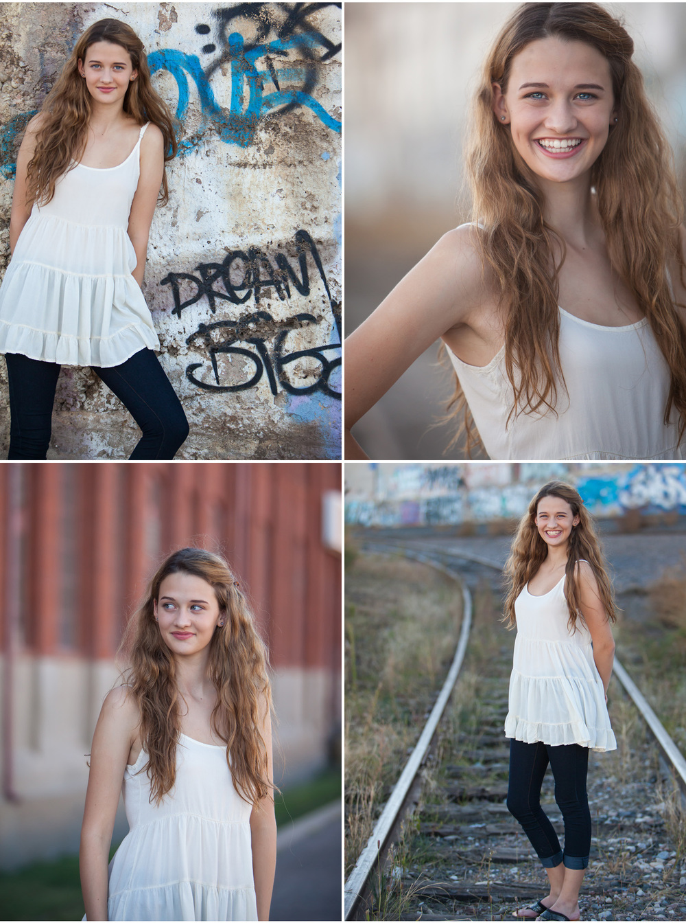 high school senior pictures in denver with historic factory, graffiti and traintracks | photographer jennifer koskinen | merritt portrait studio