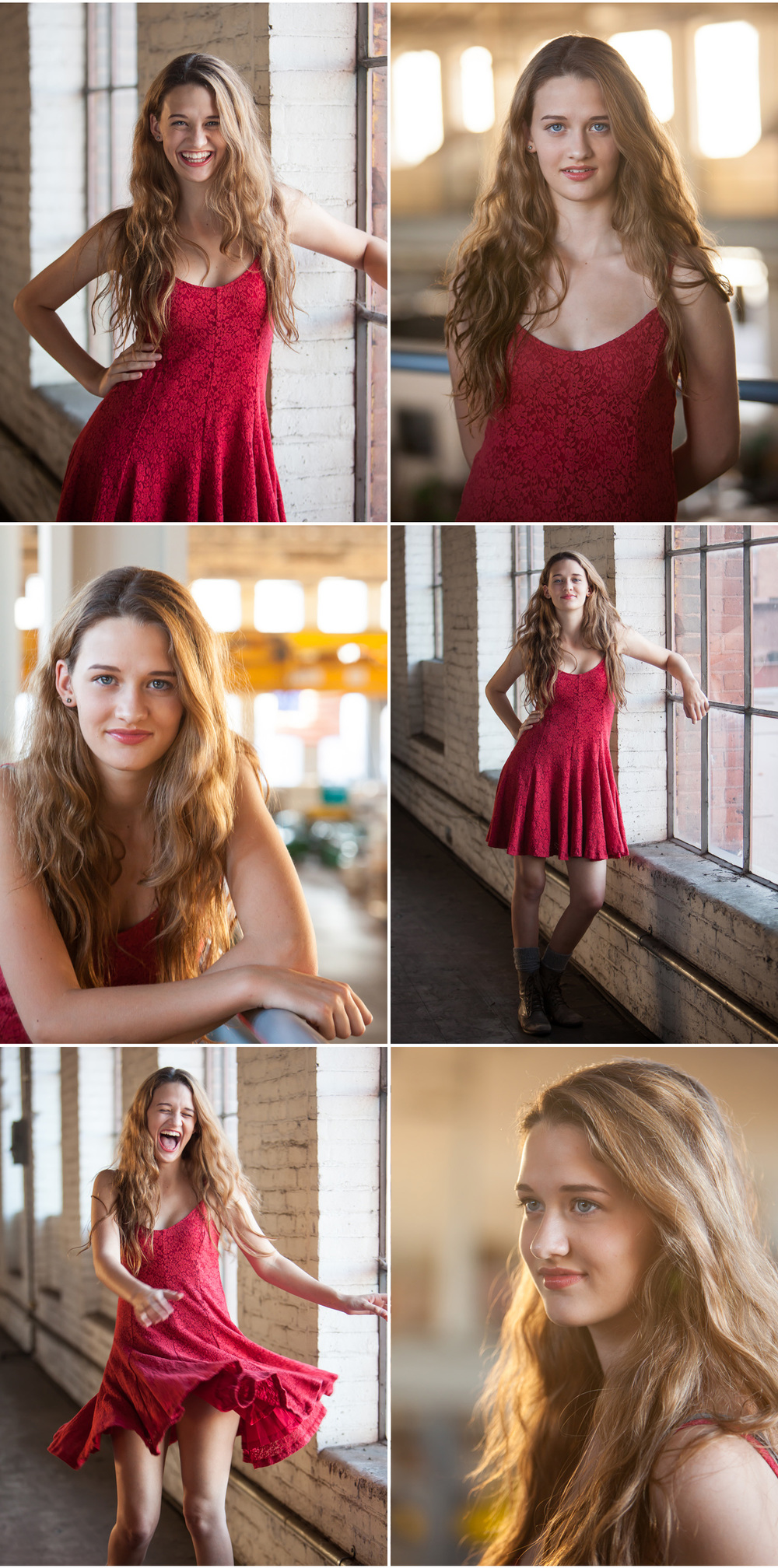 High school senior pictures in Denver of gorgeous Maddie in a red dress, photographed inside vintage urban industrial studio space with photographer Jennifer Koskinen | Merritt Portrait Studio
