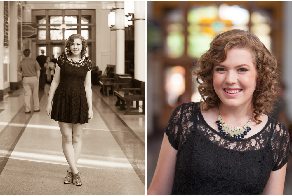 Vintage looking High School Senior Portraits at Union Station Denver, with photographer Jennifer Koskinen | Merritt Portrait Studio