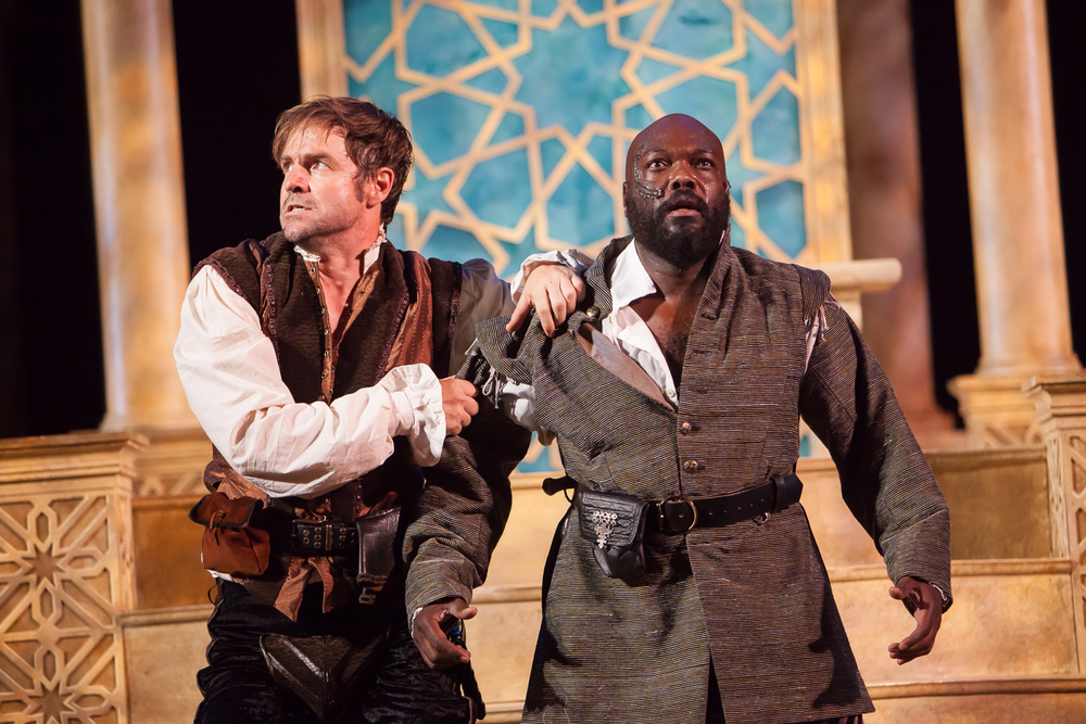 Geoffrey Kent and Peter Macon in OTHELLO at the Colorado Shakespeare Festival. Production Photographer Jennifer Koskinen | Merritt Design Photo