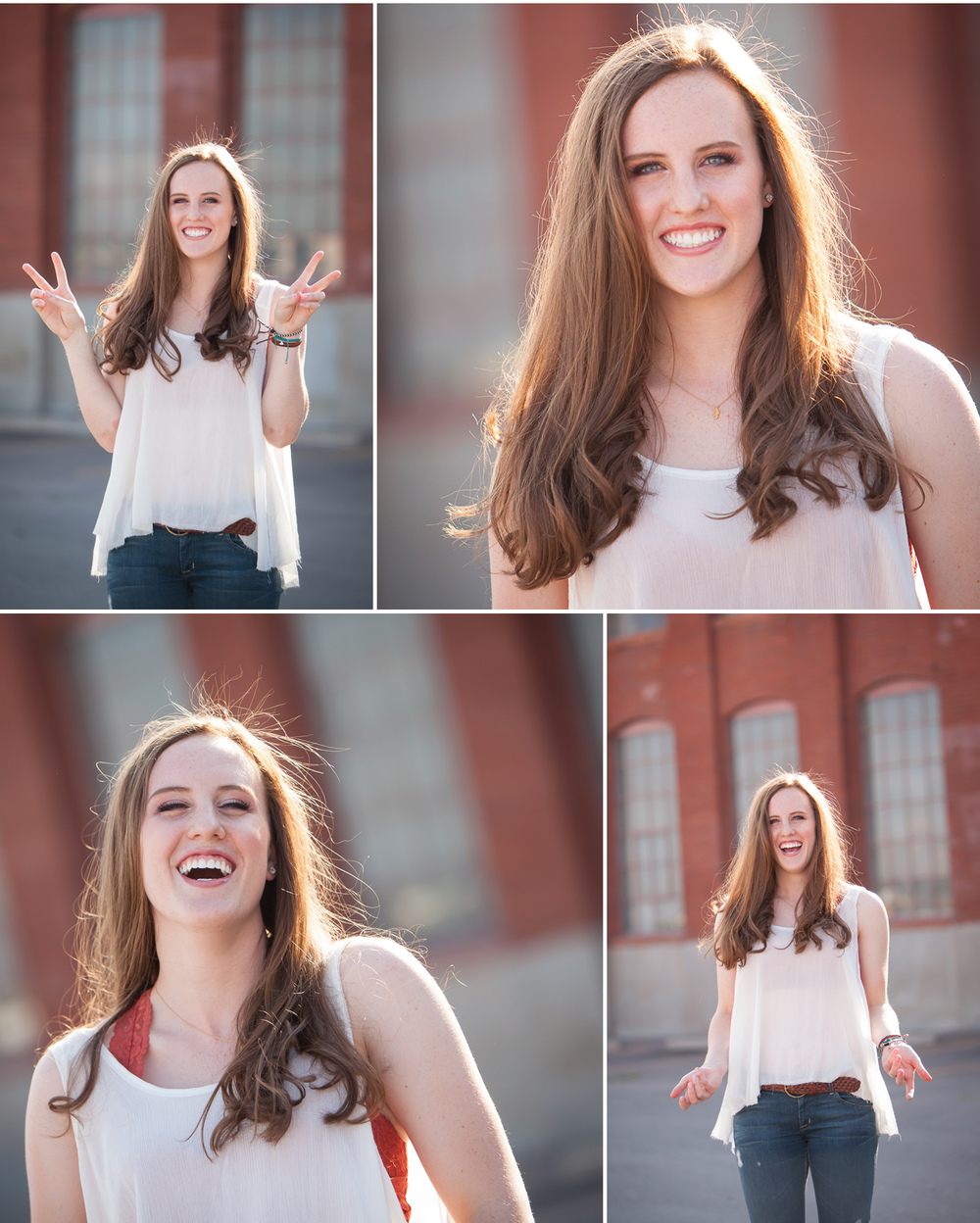 High School Senior Portraits of auburn haired girl laughing in front of historic brick building in Denver. Photographer Jennifer Koskinen, Merritt Design Photo